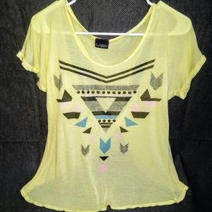 DayTrip- Yellow/Tribal Backless Tee Shirt Size M